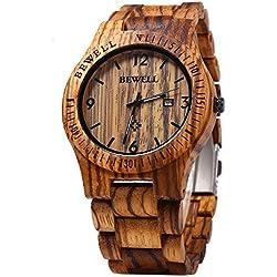 Leopard Shop Bewell Herren Armbanduhr Analog Quarz Bewegung Datum Display Holz zerawood