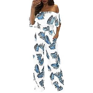 Damen Jumpsuit Sommer Elegant Spielanzug Trägerlos Rückenfrei Overall Lässig Schulterfrei Blumen Hose Loose Playsuit Romper Bodysuit mit Taschen