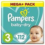 Pampers Baby-Dry Windeln Größe3 (6–10kg), Luftkanäle für atmungsaktive Trockenheit die ganze Nacht, Mega plus Pack, 1er Pack (1 x 112 Stück)