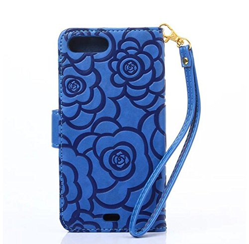 Hosaire Hülle für iPhone 7 plus,Leder Handy Schutzhülle Mode Blumen Muster Phone Handyhülle,Phone Halter,Rose Blau