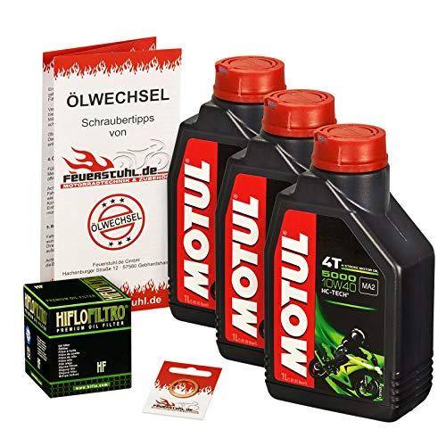 Motul 10W-40 Öl + HiFlo Ölfilter für Kawasaki GPZ 500 S, 88-93, EX500A - Ölwechselset inkl. Motoröl, Filter, Dichtring