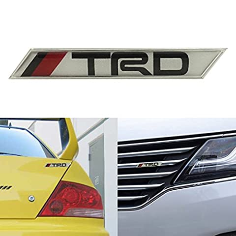 Aluminum TRD Sticker Emblem Badge Car Decals Sticker For Toyota Camry Corolla Yaris 4 Runner Tacoma RAV4 Front Grille,Fender,Body,Door, Bumper and Trunk Lid Color