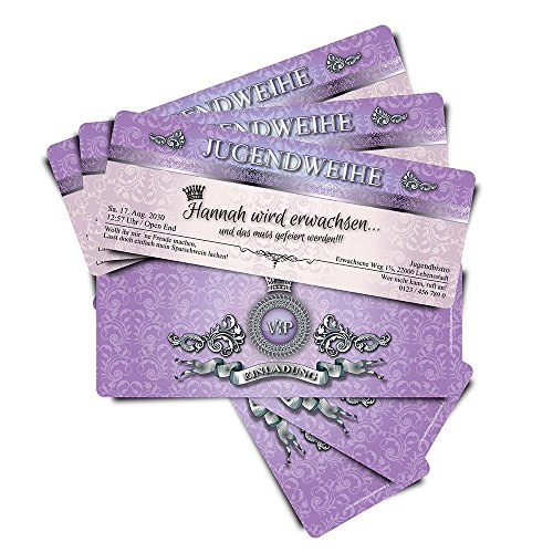 """10 Einladungskarten zur Jugendweihe\""""VIP Purple Royal\"""" Ticket Eintrittskarte"""