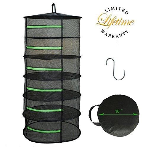 Herb Drying Rack Net Dryer 6 Layer 2ft Black W/Green Zippers Mesh Hydroponics