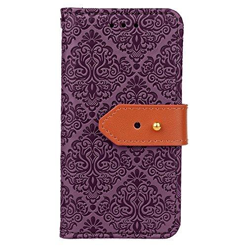 EKINHUI Case Cover Für Apple IPhone 5 5s SE Abdeckungs-Fall-Wandgemälde-geprägtes Blumen-horizontales Schlag-Standplatz-Fall PU-lederner Wölbungs-Abdeckungs-Fall mit Karten-Bargeld-Halter u. Lanyard ( Purple