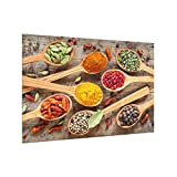 Bilderwelten Paraschizzi in vetro - Spices On Wooden Spoon - Orizzontale 2:3,Paraschizzi cucina pannello paraschizzi cucina paraspruzzi per piano cottura pannello per parete, Misura (AxL): 40cm x 60cm