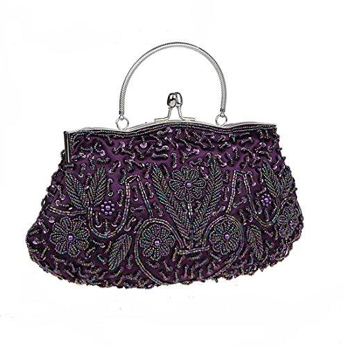 KAXIDY Abendtasche Clutch Beuteltasche Brauttasche Handtasche Party mit Pailetten Perlen Bestickt Lila