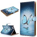 KASOS Housse Étui Coque Huawei P9 Lite Mini / Y6 Pro 2017, Coque en Folio PU Portefeuille Mince à Rabat Flip Cover Supporter avec Porte-carte Stand Étui 3D Effet Papillon Modèle Dessin Wallet -Bleu papillon