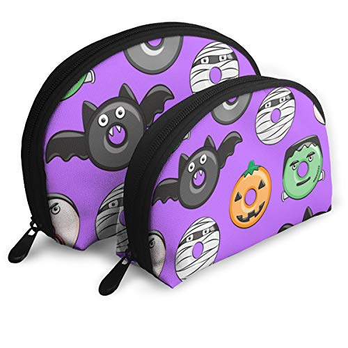Halloween Donut Medley Purple Monsters Pumpkin Fran Travel Cosmetic Storage Assorted Portable Bags Clutch Pouch Gift 2Pcs for Women