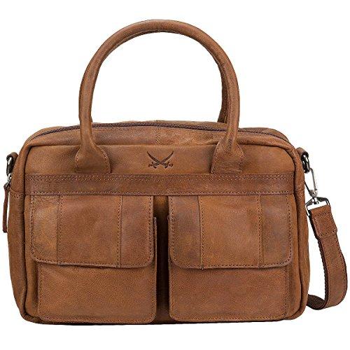 Sansibar Levante Leder Handtasche Schultertasche Bowlingbag B-738-LT Brandy