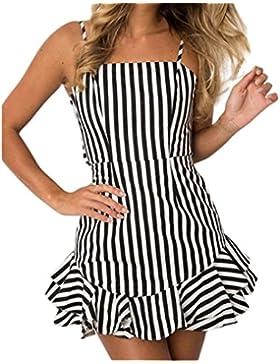 Kaiki Mini vestido de mujer de impresión camisola Sexy Backless volantes de rayas verano