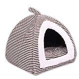 Yiuu Haustier Hundehaus Katzenhöhle Bett - Kleiner Hund oder Katze Igloo Haus Soft Gemütlich Pet Nest mit abnehmbaren Matte,Brown,L