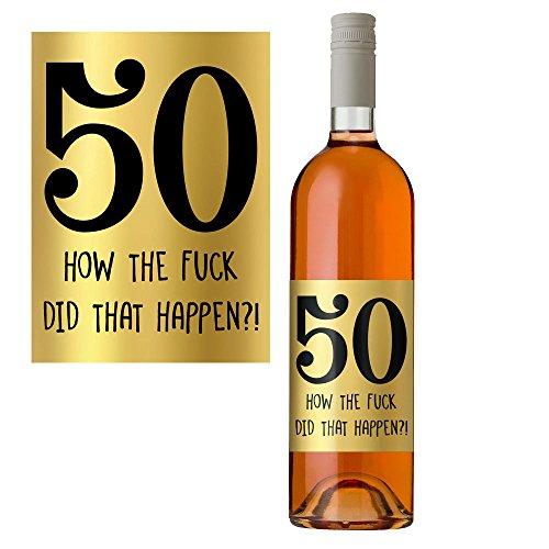 50th Birthday Wine Bottle Label in Metallic Gold