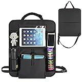 MaidMAX Auto Rücksitz Organizer mit 5 Großen Taschen Auto Rückenlehnenschutz mit Trittschutz - mit durchsichtigem extra großen iPad-Tablet-Halter, Tablet-Fach (1 Stück)