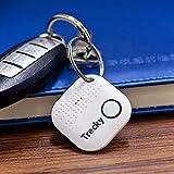 Trecky Porte-clés Connecté pour Retrouver Tous Vos Objets (Clés,Portable,Tablette,Portefeuille,Sac.) Traqueur Sonore, Anti-Perte Via Application iOS et Android (Blanc)