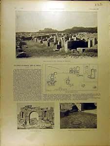 Copie Antique de 1901 de Ruines Romaines Français de Morsott Tebessa