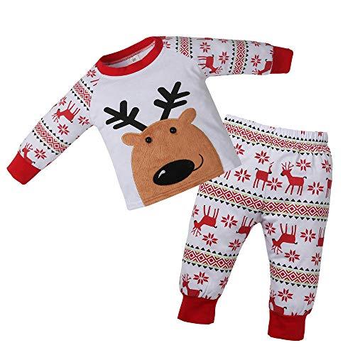 Ansenesna Baby Weihnachten Kostüm Mädchen Junge Elch Cartoon Soft Elegant Weihnachts Kleidung Tops und Hose (80, Rot)