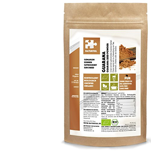 Naturteil - Bio Guarana Samen Gemahlen - 1000g - Rohkost, Vegan, Premium | Guarana Powder Organic (Guarana-samen)