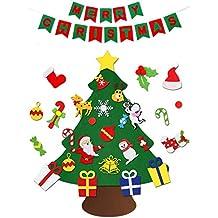 VDROL Set Árbol de Navidad Fieltro DIY con Feliz Navidad Fieltro Banner Colgante de Pared Decoraciones