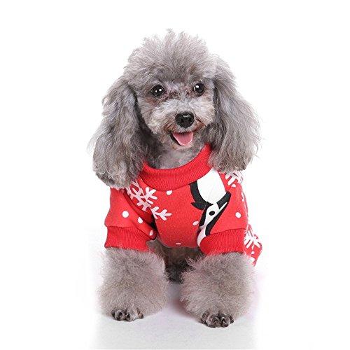PET Roter Pinguin-Schneeflocke-Haustier-Weihnachtswunderkunde Costume Pet Kleidung für kleine Hunde (Farbe : Rot, größe : M)