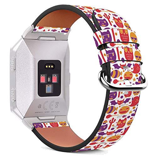 it Ionic 44mm / 42mm Armbänder Uhrenarmband Ersatz Lederarmband mit integriertem Armband Adaptors - Purpurrote Eulen-Hexe Halloween ()