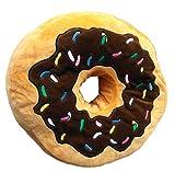 Brigamo 16841 - XL Plüsch Donut Kissen, Kuschelkissen extra dick & flauschig (Schokoguss)