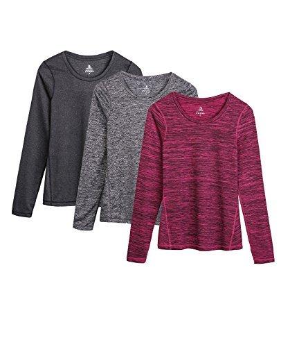 icyzone Damen Laufshirt Langarm T-Shirts atmungsaktive Funktionsshirt für Sport Fitness (Black Heather/Charcoal/Red Bud, L)