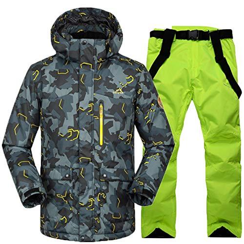Joey Herren Skianzüge Winter Kälteschutz Warmhalten Bergsteigeranzug Furnier Doppeldecker Skijacke Hose, L, schwarz grau + grün