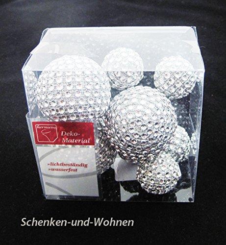Diamantbälle/Diamantkugeln 8tlg., silber ca. 3,0/5,0 cm Durchmesser