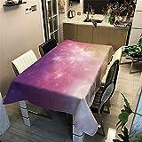 MMHJS Rêve Ciel Étoilé Motif 3D Nappe Épaissir Polyester Poussière De Coton Hôtel Fête De Mariage Rectangulaire Table Basse Tissu C 140X140 cm