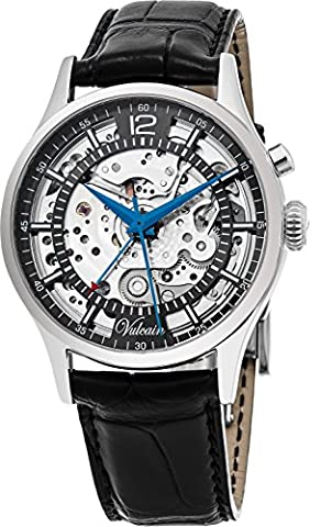Vulcain Golden Heart Mens Manual Wind Skeletonized Grey Face Alarm Black Leather Swiss Watch
