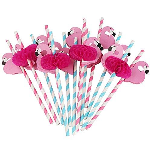 Luoartsu 50 Stücke Papierstrohe, Flamingo Trinken Papierstrohe für Cocktail Hawaiian Beach Geburtstag Hochzeit Feier Party Dekoration (Rose + Blau) für Smoothies, Cocktails, Cola,