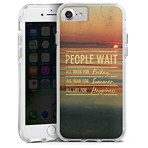 Apple iPhone 8 Bumper Hülle Bumper Case Glitzer Hülle Phrases Sayings Sprüche Bumper Case transparent