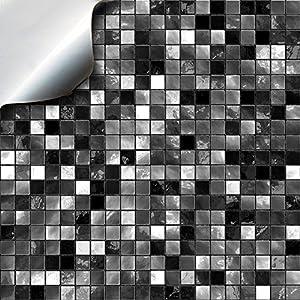 Tile Style Decals 24 stück Fliesenaufkleber für Bad und Küche (TP3-6 Black and White) | Mosaik Wandfliese Aufkleber für 15x15cm Fliesen | Deko Fliesenfolie für Bad u. Küche