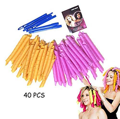 AJIAFA 40 Stück Manuelle Lockenwickler Marmor Magic Curler Haarrolle aus Kunststoff mit Friseurwerkzeug für Damen 45 cm