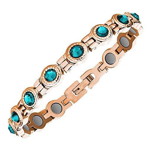 Proexl, elegante braccialetto con cristalli swarovski, da donna, per terapia magnetica, con confezione regalo, rose gold turquoise, misura unica