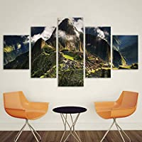 OLAJSDD Home decoration wall pictures for living room canvas art landscape painting 5 panels Machu Picchu Peru mountains clouds