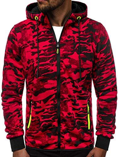 OZONEE Herren Sweatshirt Pullover Kapuzenpullover Camouflage Pulli Sweats J.Style DD99-10 L ROT
