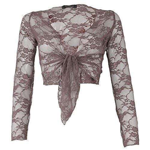 Janisramone ladies ritagliata top di pizzo pizzo manica lunga cravatta scrollata di spalle bolero Mocha