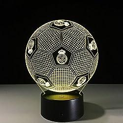 Lámpara De Mesa LED De Luz Colorida De La Noche LED Ahorro De Energía Lámpara De Mesa De Acrílico Colorido Gradiente Táctil / Control Remoto Recargable Altavoz Bluetooth (Fútbol De Real Madrid),Bluetoothspeaker