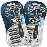 BIC Flex3 Hybrid Rasoir pour Homme - Lot de 2 Blisters de 1 + 4 Recharges
