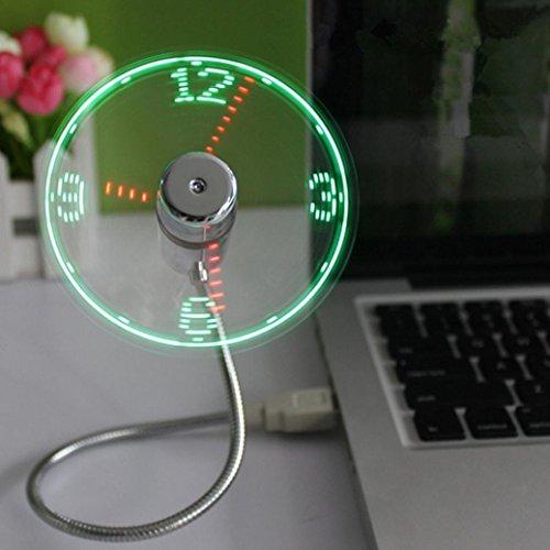 Vovotrade Mini USB LED Ventilateur d'horloge Alimenté par LED Refroidissement éclairant Affichage de l'affichage en Temps réel Horloge Ventilateur (multicolore)
