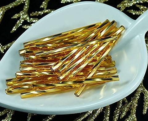 50X x 35mm Extra Lange Licht Gold-Silber Ausgekleidet Twisted Tschechische Glas stiftperlen PRECIOSA Rohre