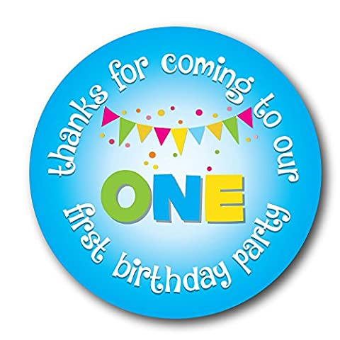 'Thanks For Coming To OUR First Birthday Party' 30mm stickers, 'Bunting' various colours and quantities (48 Blue stickers)