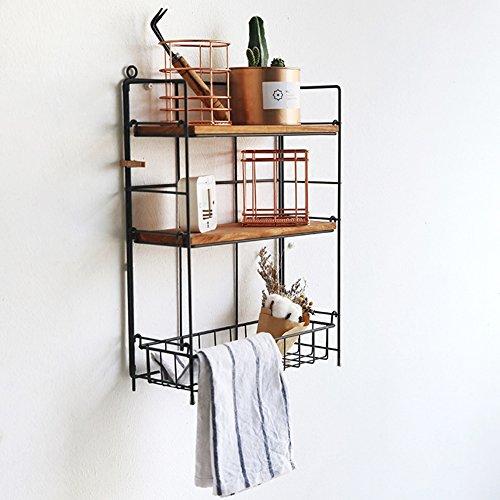 Ggcg scaffale da scaffale portaoggetti a muro scaffale portaoggetti detriti in ferro combinato espositore multifunzione in ferro, 28 x 12 x 39 cm