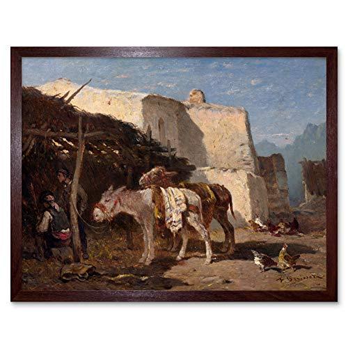 Brissot De Warville Spanish Donkeys 1870S Painting Art Print Framed Poster Wall Decor 12x16 inch Krieg Spanisch Gem�lde Wand Deko