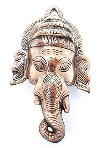 Eclectic Shop UK Ganesh Ganesha Gott Große Metall Wandschild Maske 12 Zoll Kupfer Besetzung Ornament Hindu Heim Plakette