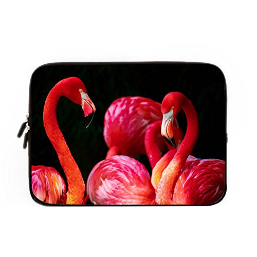 chadme-laptop-sleeve-custodia-per-notebook-borsa-rosso-flamingo-su-sfondo-nero-con-zip-per-macbook-a