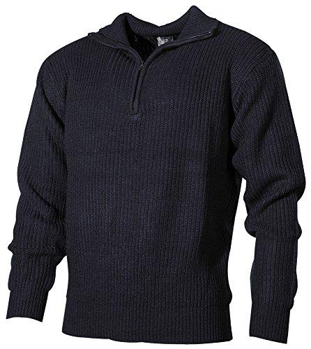 MFH Isländer Pullover, Troyer mit Reißverschluss, Blau, Large