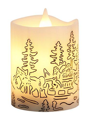 Vela de luz LED con cera verdadera, parpadeo blanco con motivos, temporizador, unos 10 x 8 cm, Batt